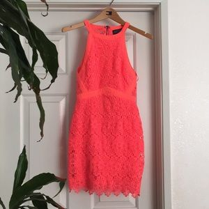 Astr Bright Pink Lace Dress